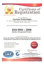 ISO 9001:2008 Certification for years 2015 - 2018